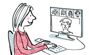 Lady sitting at a computer and enjoying masterclasses