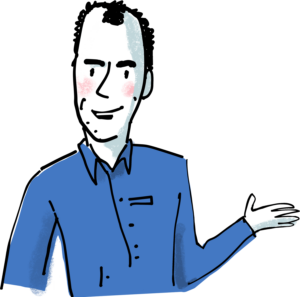 René Hjetting stands showing his hand, to show that he is ready to help you all the way in writing and publishing your book.